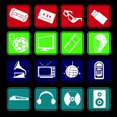 Movie And Music Entertainment Icon Set