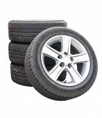 Four Car Tires On White Background
