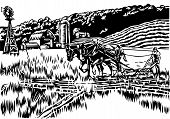 stock photo of horse plowing  - illustration of farmer in field plowing with hand plow and horses - JPG
