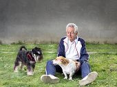 picture of dog tracks  - Senior man sitting on grass with his dogs - JPG