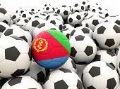 pic of eritrea  - Football with flag of eritrea in front of regular balls - JPG