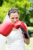 picture of boxing day  - Portrait of confident young bride with boxing gloves punching in garden - JPG