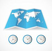 Vector map icon and world time clocks