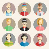 stock photo of bald head  - Set of nine male avatars in flat style showing the colorful heads and shoulders of a diverse collection of men wearing different fashion  vector illustration - JPG