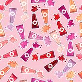 Seamless pattern of lip glosses
