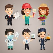 stock photo of overalls  - Professions Cartoon Characters Set1 - JPG
