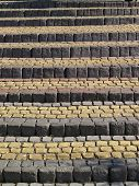 foto of pavestone  - Old stone pavement stairs from bricks background - JPG