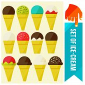 image of ice cream parlor  - set of Ice cream in waffle cup flat vector illustration - JPG