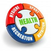 Medical infographic. Health is sport, hygiene, nutrition and recreation. 3d