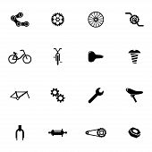 stock photo of bicycle gear  - Vector black bicycle part icons set on white background - JPG