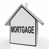 Mortgage House Shows Property Loans And Repayments