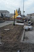 KIEV, UKRAINE - APR 7, 2014: Downtown of Kiev. Central street.Plantation in the rioters camp. Riot i
