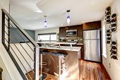 foto of stool  - Small kitchen are in a modern apartment - JPG