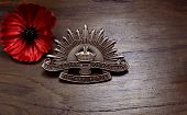 ADELAIDE, AUSTRALIA - APRIL 2, 2014: The Australian Army 3rd Pattern Rising Sun ANZAC hat badge