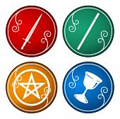 picture of pentacle  - set of colorful tarot symbol based on its element - JPG