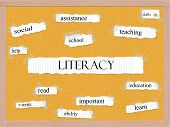 stock photo of pegboard  - Literacy Corkboard Word Concept with great terms such as read write skills and more - JPG