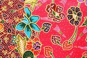 picture of batik  - Close up colorful batik cloth fabric background - JPG