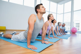 stock photo of senior class  - Fitness group doing cobra pose in row at the yoga class - JPG