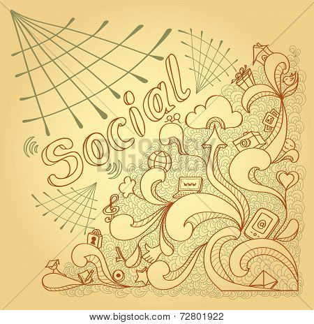 Social webs in doodle style on beige background