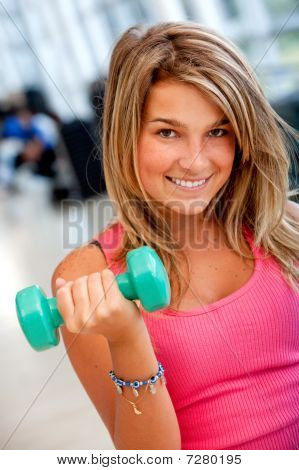 Gym Woman Lifting Free Weights
