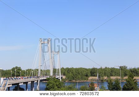 Pedestrian cable-stayed bridge across the Yenisei to the island Tatysheva.