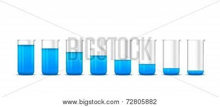 Illustration Of Chemical Beakers With Blue Solution On White Background