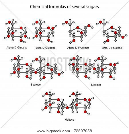 Structural Chemical Formulas Of Some Sugars