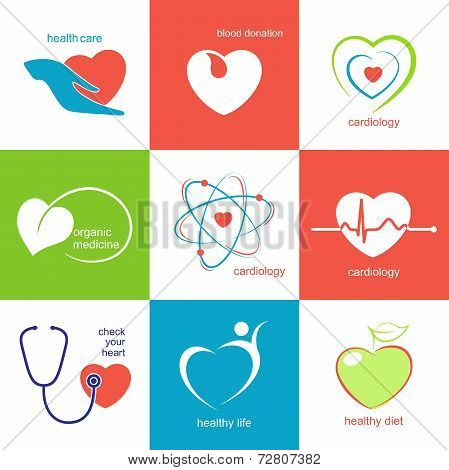 Health care heart icons