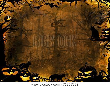Halloween Pumpkins Cats And Bats - Dark Lights Background