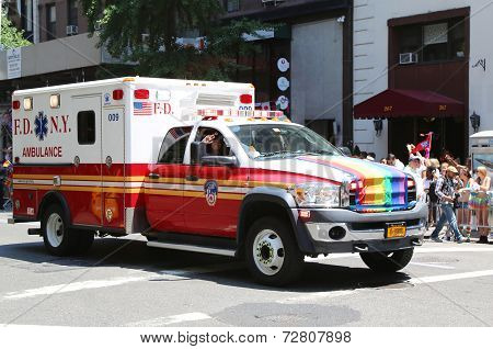 EMS truck at LGBT Pride Parade in New York City
