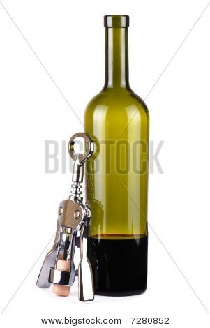 One Incomplete Bottle Of Wine And Corkscrew