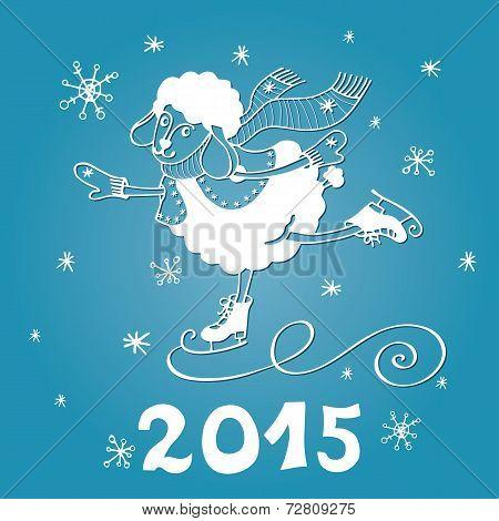 Year of Sheep. Cartoon sheep skate with Snowflakes