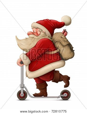 Santa Claus And The Push Scooter