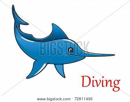 Cartoon swordfish character