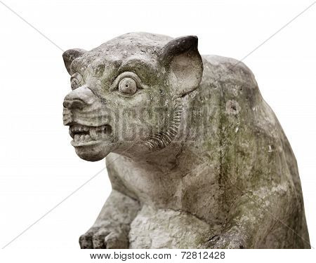 Animal Sculpture From Bali, Isolated On White Background