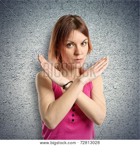 Redhead Girl Doing No Gesture Over Textured Background