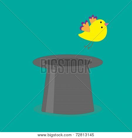 Magic Black Hat With Yellow Flying Bird