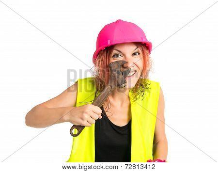 readhead girl working