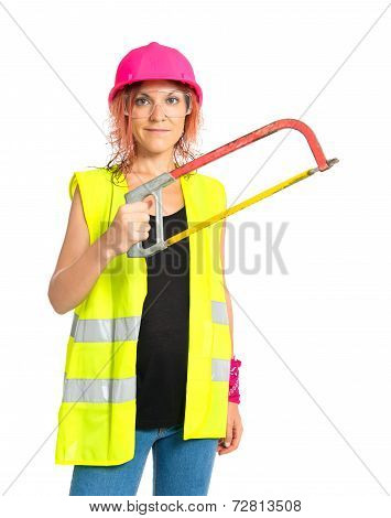 Worker Woman With Hacksaw Over White Background