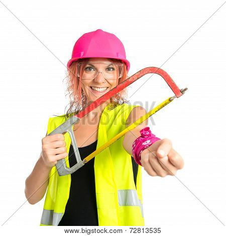 Worker Woman Cutting His Hand Working With A Saw