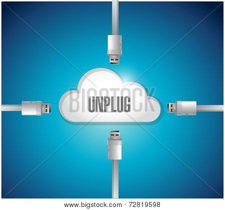 Unplug From A Cloud Concept Illustration