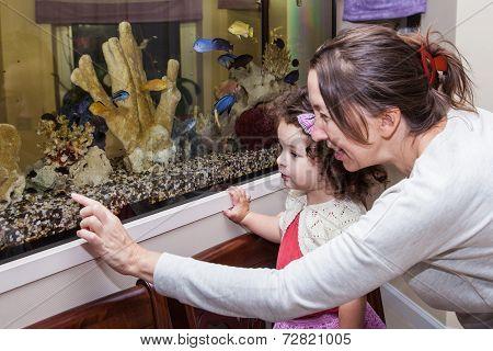 Grandmother And Granddaughter Near Aquarium