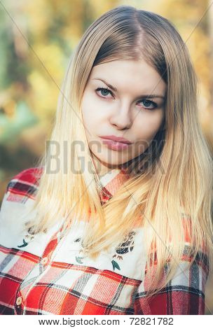 Young Woman Face Portrait Blonde Hair Outdoor Lifestyle