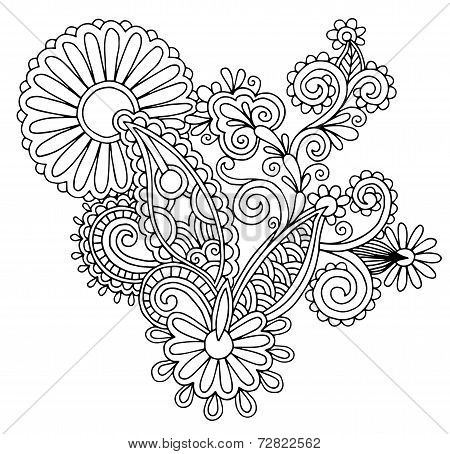 black line art ornate flower design, ukrainian ethnic style,