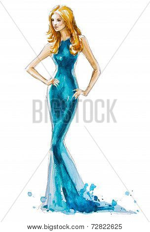 fashion illustration of a blond girl in a long dress. watercolor painting. hand painted.