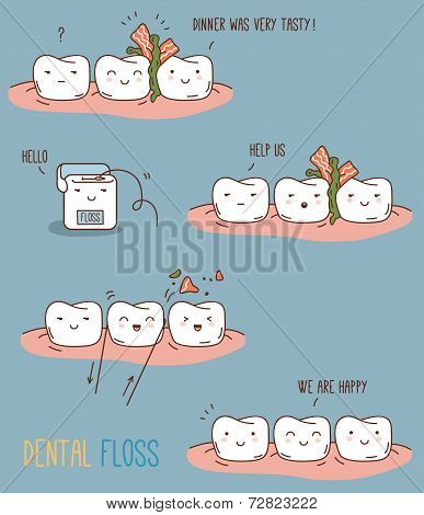 Comics about dental floss.