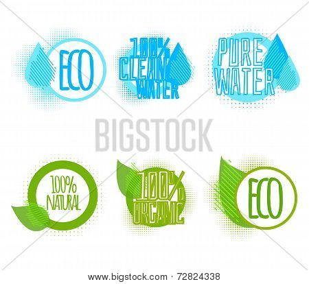 Set Of Six Clear Water And Ecology Labels