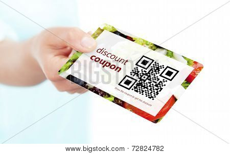 Hand Holding Food Discount Coupon With Qr Code Isolated Over White