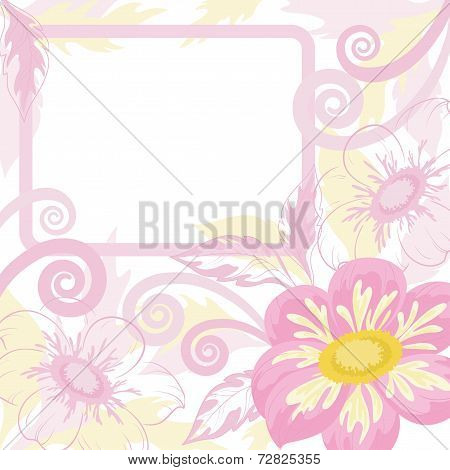 Background with frame and flowers dahlia