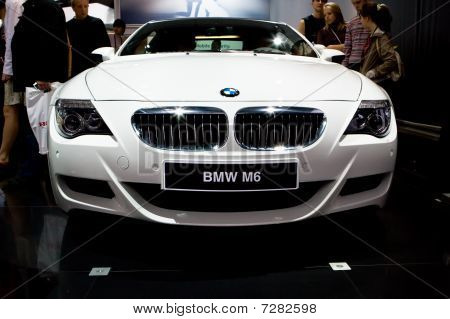 Moscow, Russia - August 27: White Sport Car Bmw M6 At Moscow International Exhibition Interauto On A